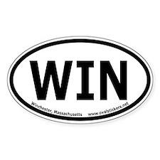 Winchester, Mass. Oval Bumper Sticker (thick line)