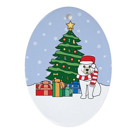 Samoyed Christmas Oval Ornament
