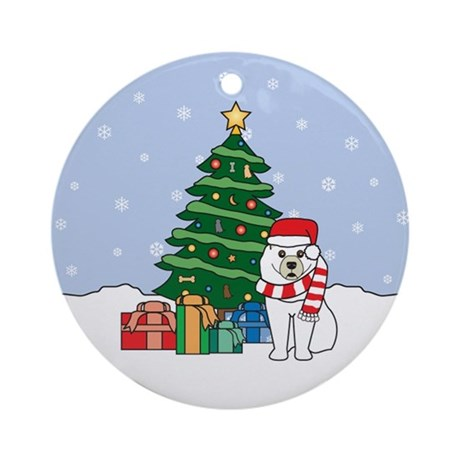 Samoyed Christmas Ornament (Round)