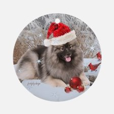 Keeshond Christmas Design Ornament (Round)