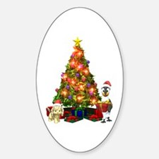 MERRY CHRISTMAS Oval Decal