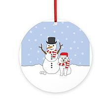 Samoyed Holiday Ornament (Round)