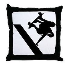 Silhouette Skateboarder Throw Pillow