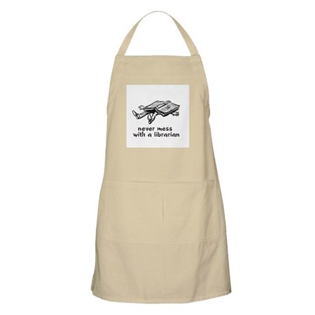 Never mess with a librarian BBQ Apron