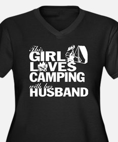 Cool Girl camping Women's Plus Size V-Neck Dark T-Shirt