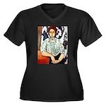 Greta Women's Plus Size V-Neck Dark T-Shirt