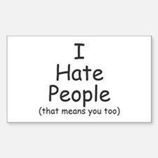 I Hate People - Rectangle Decal