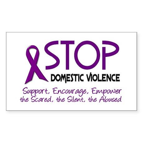 Stop Domestic Violence 2 Rectangle Sticker