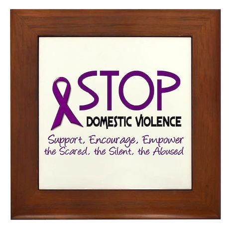 Stop Domestic Violence 2 Framed Tile