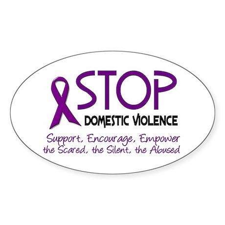 Stop Domestic Violence 2 Oval Sticker (10 pk)