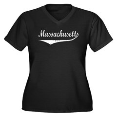 Massachusetts Women's Plus Size V-Neck Dark T-Shir