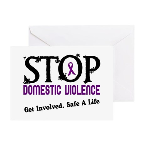 Stop Domestic Violence 2 Greeting Cards (Pk of 10)