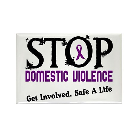 Stop Domestic Violence 2 Rectangle Magnet (100 pac