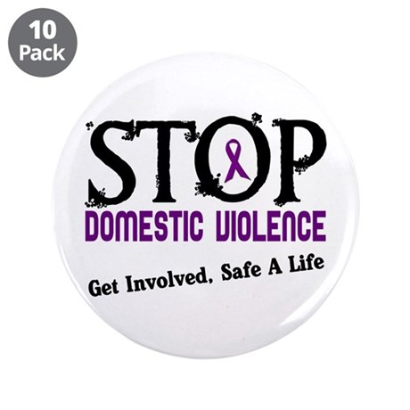 """Stop Domestic Violence 2 3.5"""" Button (10 pack)"""