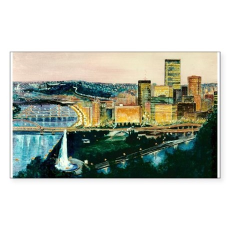 Pittsburgh at Dusk Rectangle Sticker