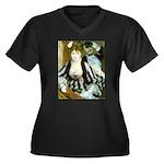 La Loge Women's Plus Size V-Neck Dark T-Shirt