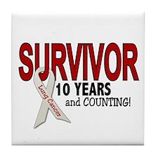 Lung Cancer Survivor 10 Years 1 Tile Coaster