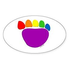 Rainbow Bear Paw Oval Decal