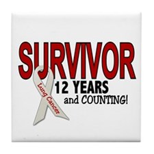 Lung Cancer Survivor 12 Years 1 Tile Coaster