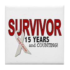 Lung Cancer Survivor 15 Years 1 Tile Coaster