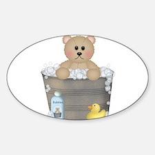Teddy Bear Bubble Bath Oval Decal