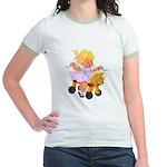 Little Girl Toy Horse Jr. Ringer T-Shirt