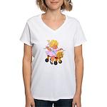 Little Girl Toy Horse Women's V-Neck T-Shirt