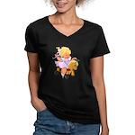 Little Girl Toy Horse Women's V-Neck Dark T-Shirt