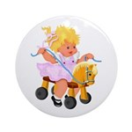 Little Girl Toy Horse Ornament (Round)