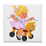 Little Girl Toy Horse Tile Coaster