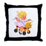Little Girl Toy Horse Throw Pillow