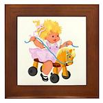 Little Girl Toy Horse Framed Tile