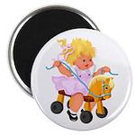 Little Girl Toy Horse Magnet