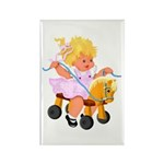 Little Girl Toy Horse Rectangle Magnet (10 pack)