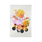 Little Girl Toy Horse Rectangle Magnet (100 pack)