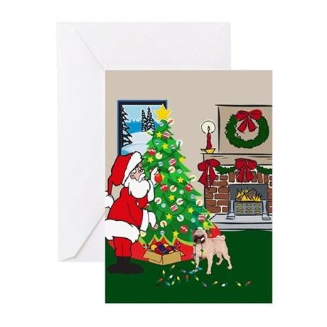 Deck The Halls Pug Greeting Cards (Pk of 10)