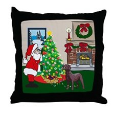 Deck The Halls Chocolate Lab Throw Pillow