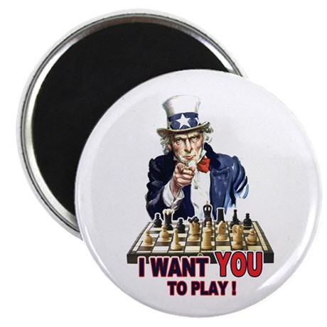 Uncle Sam Plays Chess Magnet