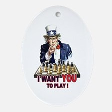 Uncle Sam Plays Chess Oval Ornament