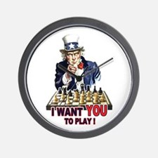 Uncle Sam Plays Chess Wall Clock