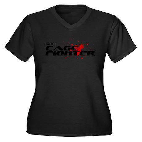 Swiss Cage Fighter Women's Plus Size V-Neck Dark T