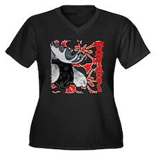 Nene Moose Women's Plus Size V-Neck Dark T-Shirt