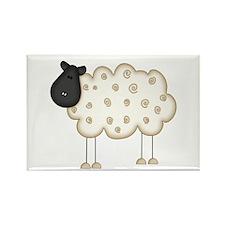 Stick Figure Sheep Rectangle Magnet