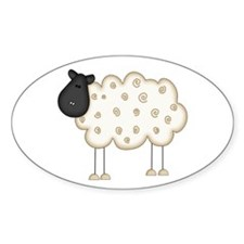 Stick Figure Sheep Oval Decal