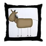 Stick Figure Horse Throw Pillow