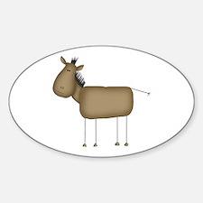 Stick Figure Horse Oval Decal