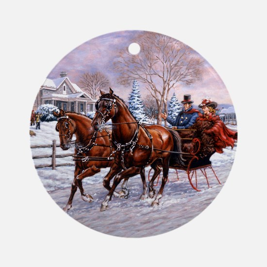 Sleigh Ride Ornament (Round)