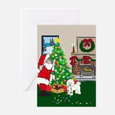 Deck The Halls Bichon Frise Greeting Cards (Pk of