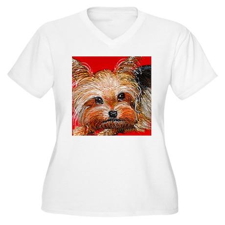 dog_yorkie_q01 Women's Plus Size V-Neck T-Shirt