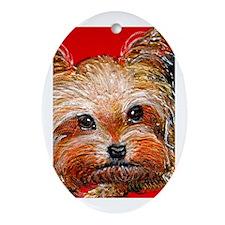 dog_yorkie_q01 Oval Ornament